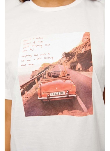 Setre Mor Kısa Kol Baskılı T-Shirt Ekru